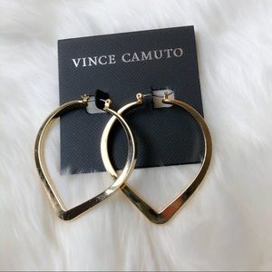 Vince Camuto Goldtone Pointed Flat Hoop Earrings